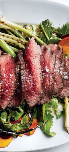 Grilled Steak Salad with Scallions