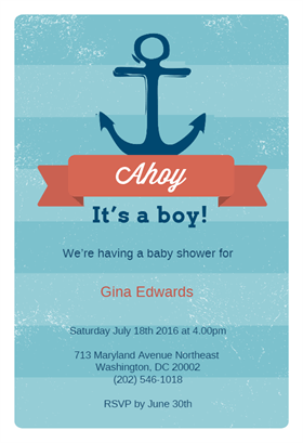 Ahoy It S A Boy Printable Invitation Template Customize Add Boy And Template Free