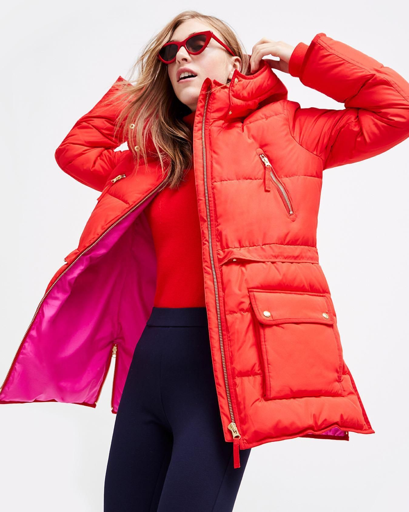 Pants 80 At Jcrew Com Wheretoget Winter Coat Outfits Red Puffer Coat Outerwear Trends [ 1687 x 1349 Pixel ]