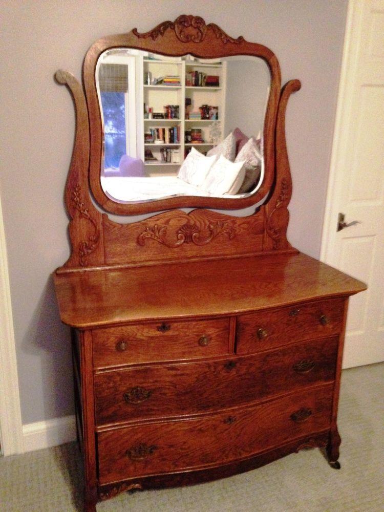 Antique Oak Bedroom Set Full Size Bed Frame, Dresser w