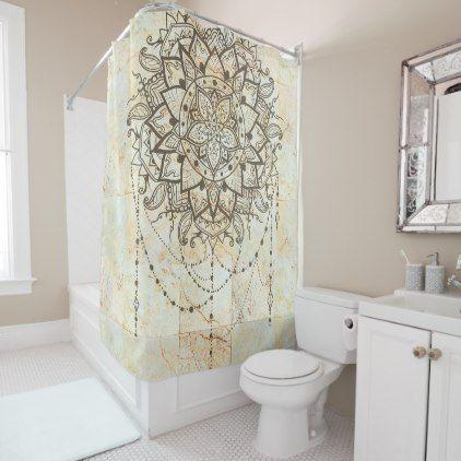 Lotus Mandala On Ceramic Tiles Shower Curtain Zazzle Com Shower Tile Ceramic Tiles Custom Shower Curtains