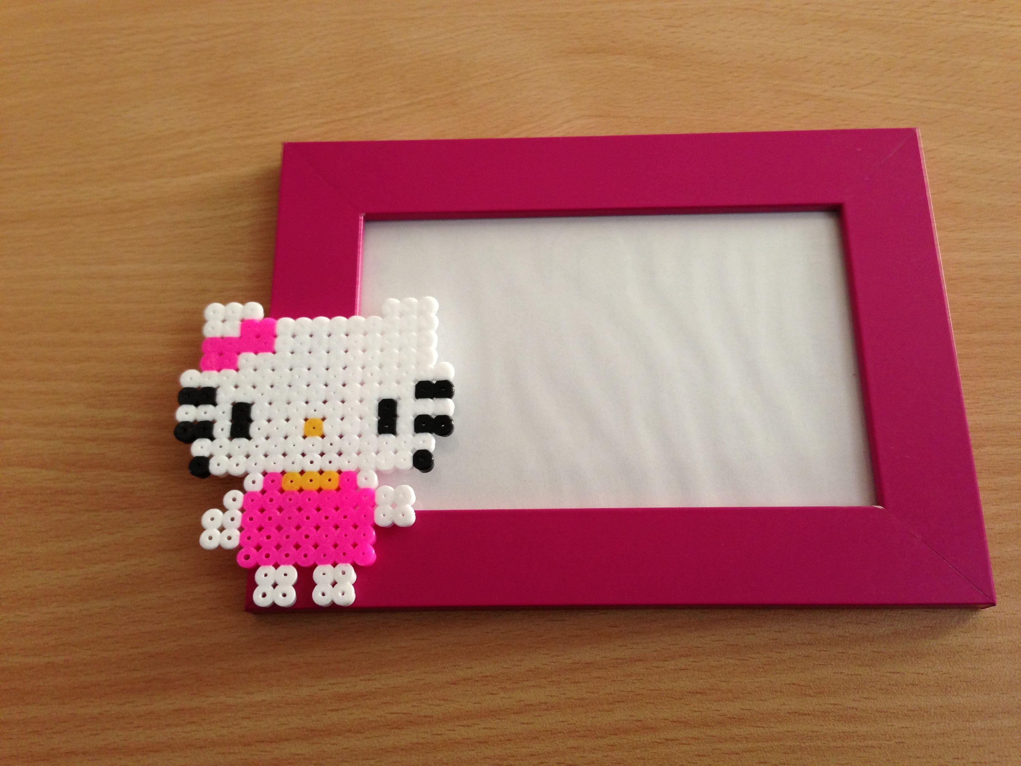 Hello Kitty photo frame hama beads by Maria Angeles | Perler beads ...