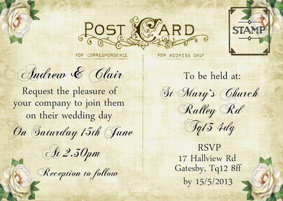 Sample Wedding Invitation Vintage Postcard Ivory Rose, More