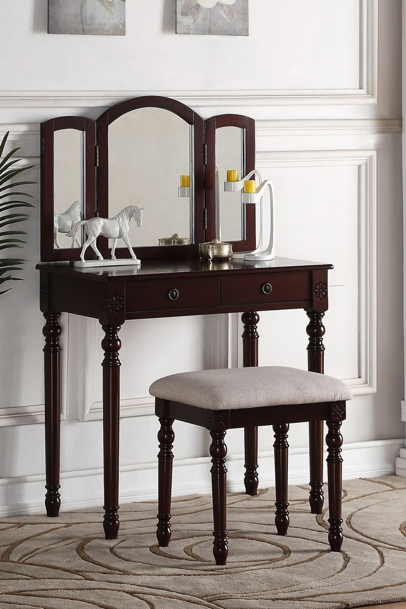 Poundex F4158 3 Pc Espresso Finish Wood Make Up Bedroom Vanity Set
