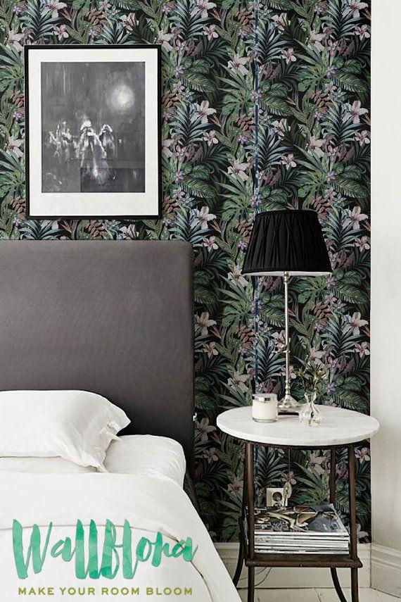 Hibiscus Plumeria Pattern Removable Wallpaper Blooming Jungle Wall Mural Jungle Flower Wallpaper 258 Tapeten Entfernen Schone Tapeten Und Tapeten