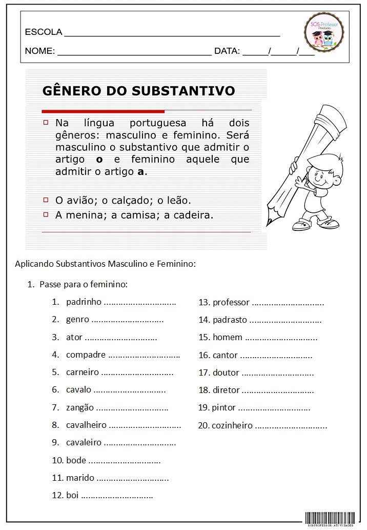 Well-known Gênero do Substantivo 3º ANO BIA, 4º E 5º ANO, GRAMÁTICA, LÍNGUA  HM51