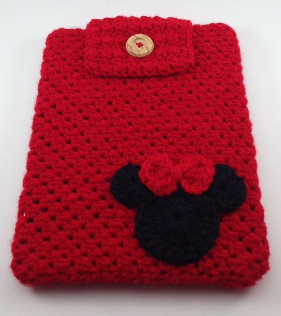 Hand Crocheted Ipad Sleeve / Cover / Case in Red with Minnie Mouse ...