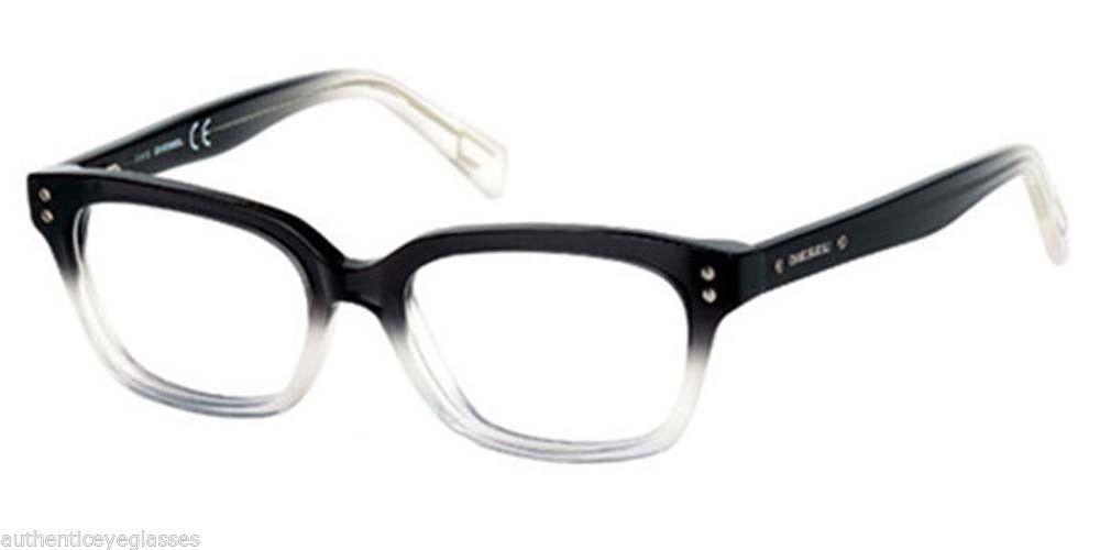 29c18237d85d Diesel DL5037 005 Plastic Eyeglasses Black and Clear Gradient Optical Frames