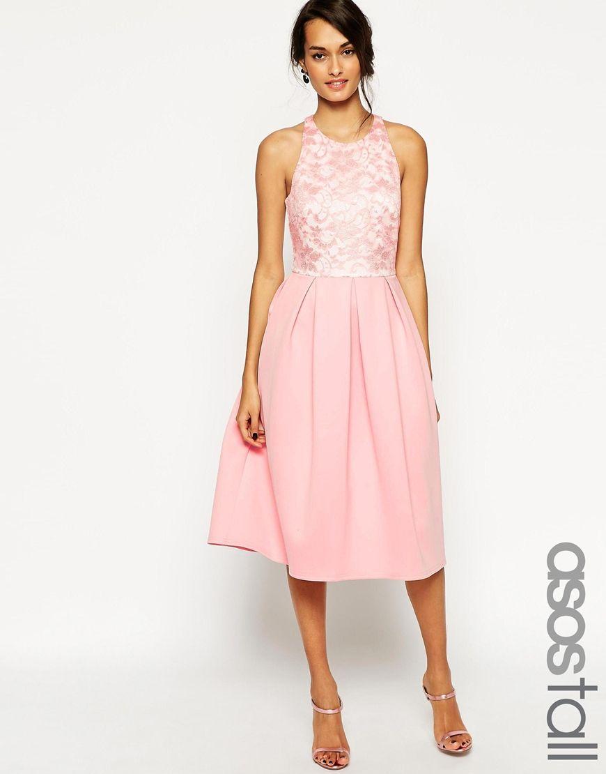 ASOS TALL Lace Top Scuba Skater Midi Dress   guest wedding attire ...