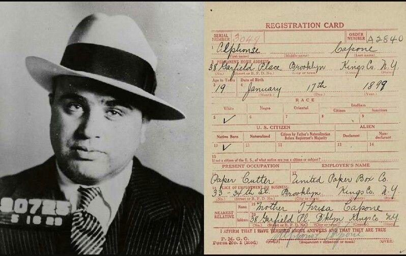 Al Capone Registration Card Al Capone Chicago Outfit Chicago