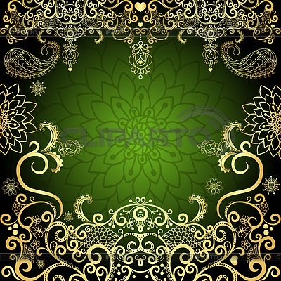 Green-gold vintage floral frame | Stock Vector Graphics | ID 3681718
