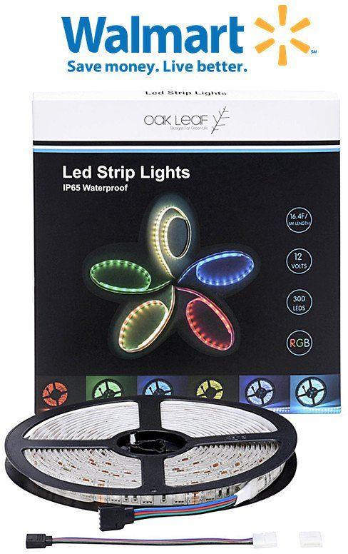 Led Light Strips Walmart Walmart Oak Leaf Smd5050 Waterproof Led Strip Lights 164Ft Rgb