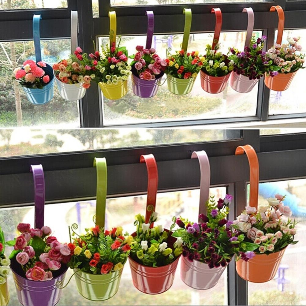 10pcs metal iron hanging flower pot home balcony garden planter