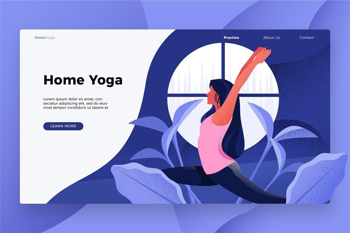 Home Yoga Banner Landing Page Landing Page Yoga Illustration Yoga Web