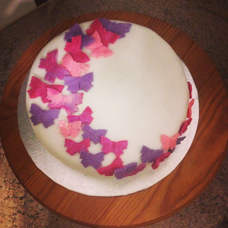 Victoria Sponge Birthday Cake With Butterflies
