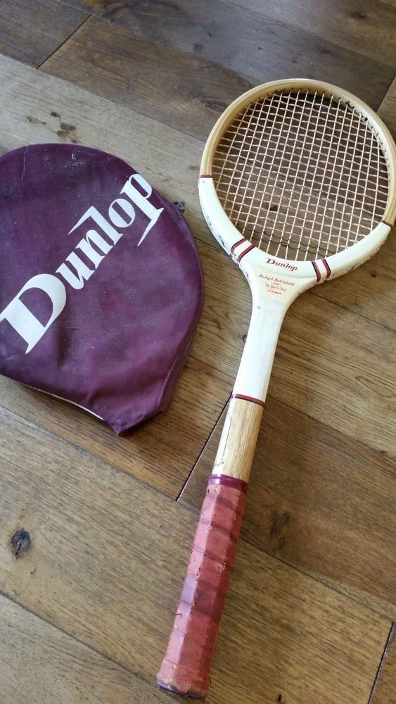 Vintage Retro 1960s 70s Dunlop Wooden Tennis Racket Used Cover Good