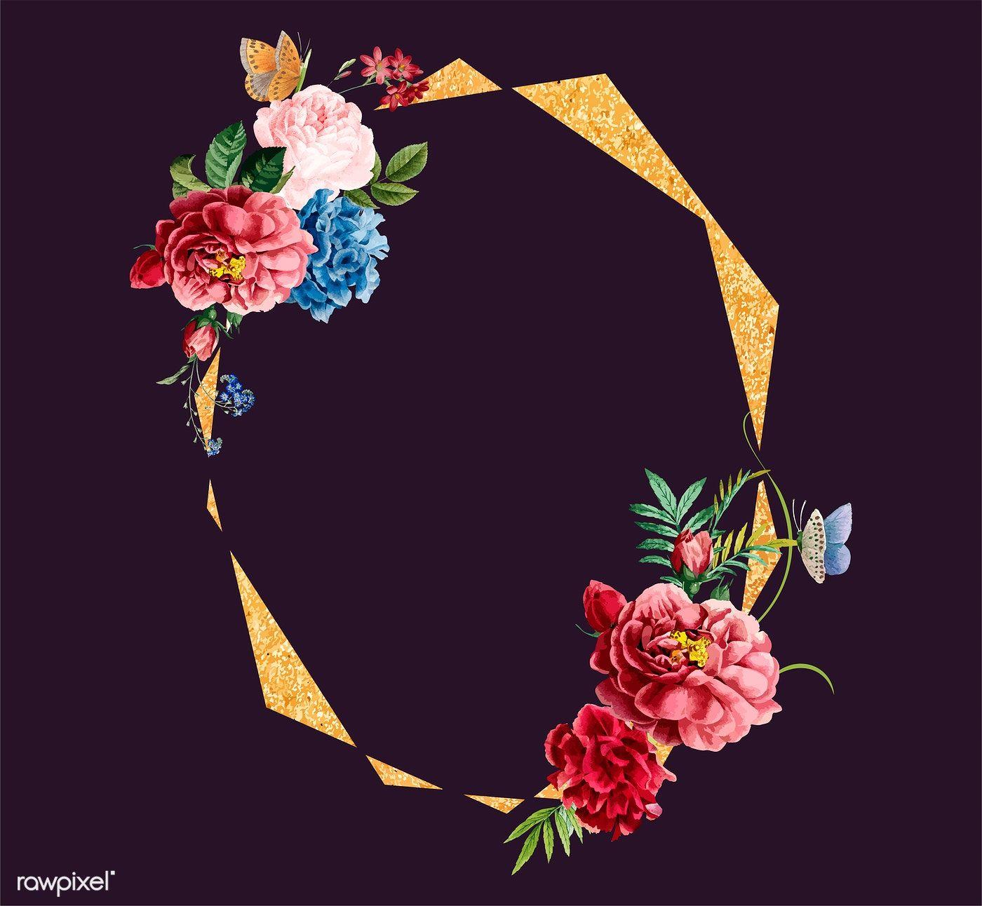 Download premium vector of floral frame card design