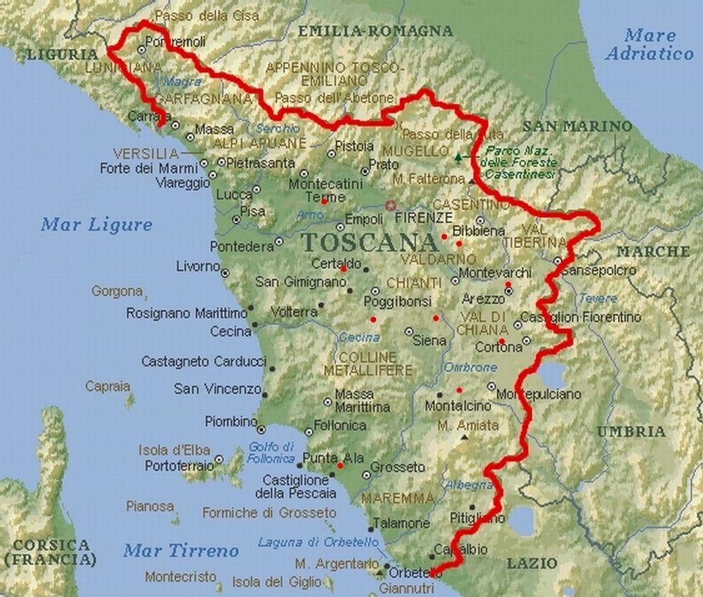 Karte Toskana Karte Toskana Toskana Karte Toskana Italien Karte