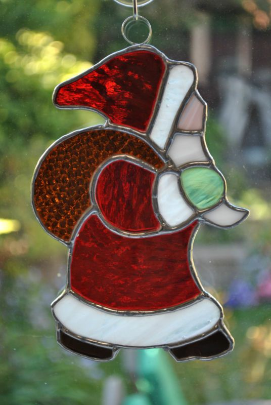 Christmas stained glass window decoration - Father Christmas