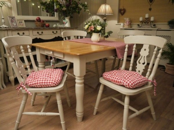 Farmhouse Style Kitchen Table And Chairs With Tie On Cushion Pads Using Laura Ashley Red Gingham
