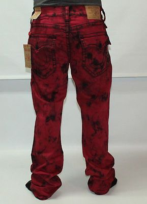 97822454 True Religion Straight W/ Flap Big T Black Stitch Mens Jeans Size 34 Ruby  Red