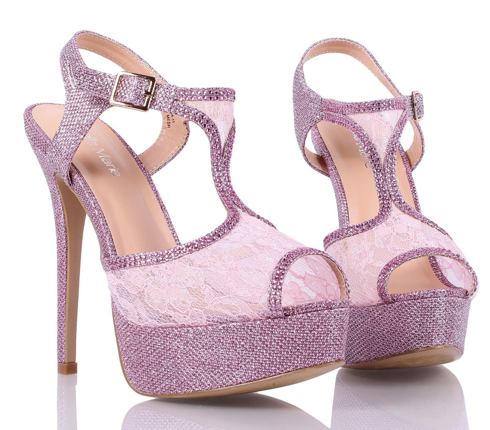 Purple Pink Peep Toe Stiletto Glitter Platform Womens High Heels ...