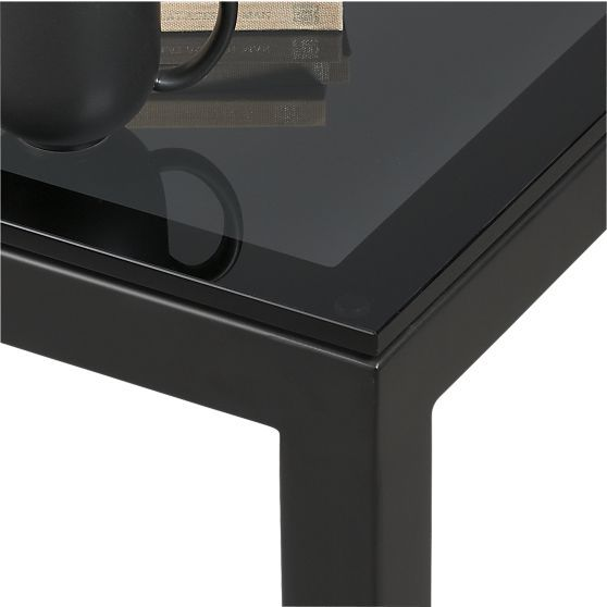 Parsons Square Coffee Table With Grey Glass Top In Coffee Tables Side Tables Crate And Barrel Grey Glass Coffee Table Square Glass Top