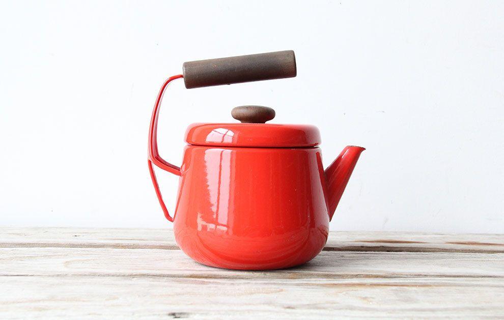 A Kobenstyle Teapot Designed By Jens Quistgaard For Dansk Designs Denmark Ca 1956 Made From Cast Iron And Covered W Tea Pots Teapot Design Vintage Enamelware