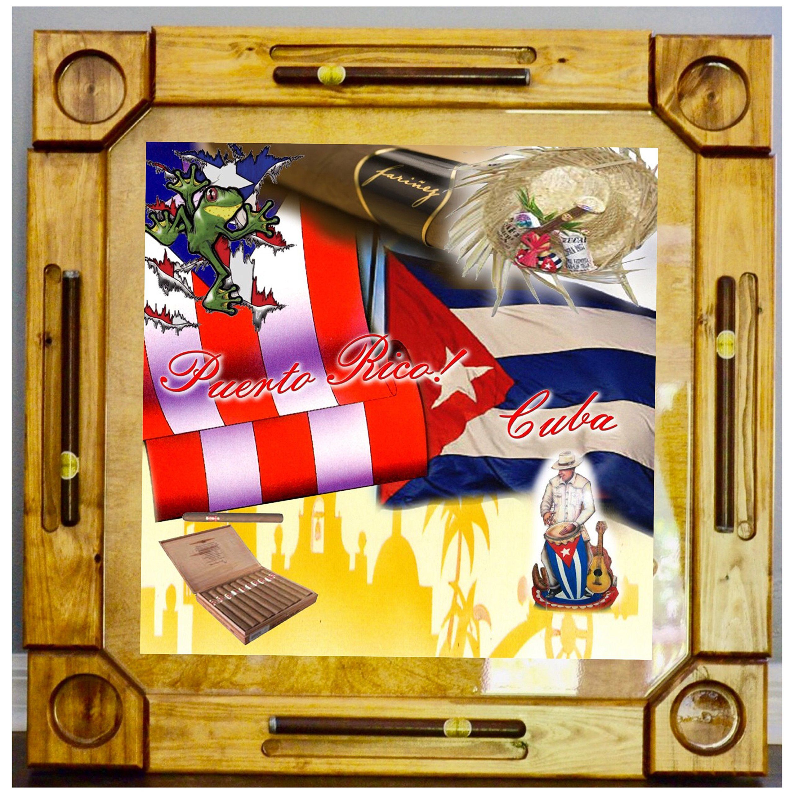 Wooden/wood Dominoes/domino Table/mesa Custom Made Cuba And Puerto Rico  Flags Made In USA. Made From Solid And Hight Quality Wood ,this Beautiful  Dominoes ...