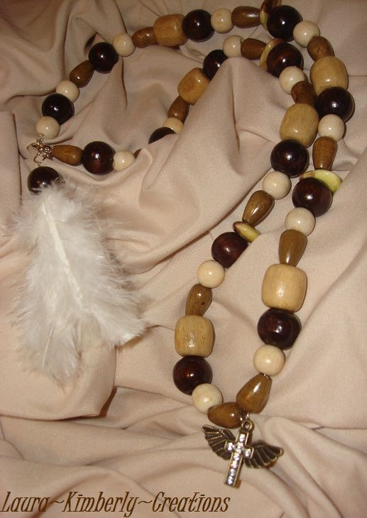 I Just Adore This Wood Necklace Wood Beadswalmart White Feather