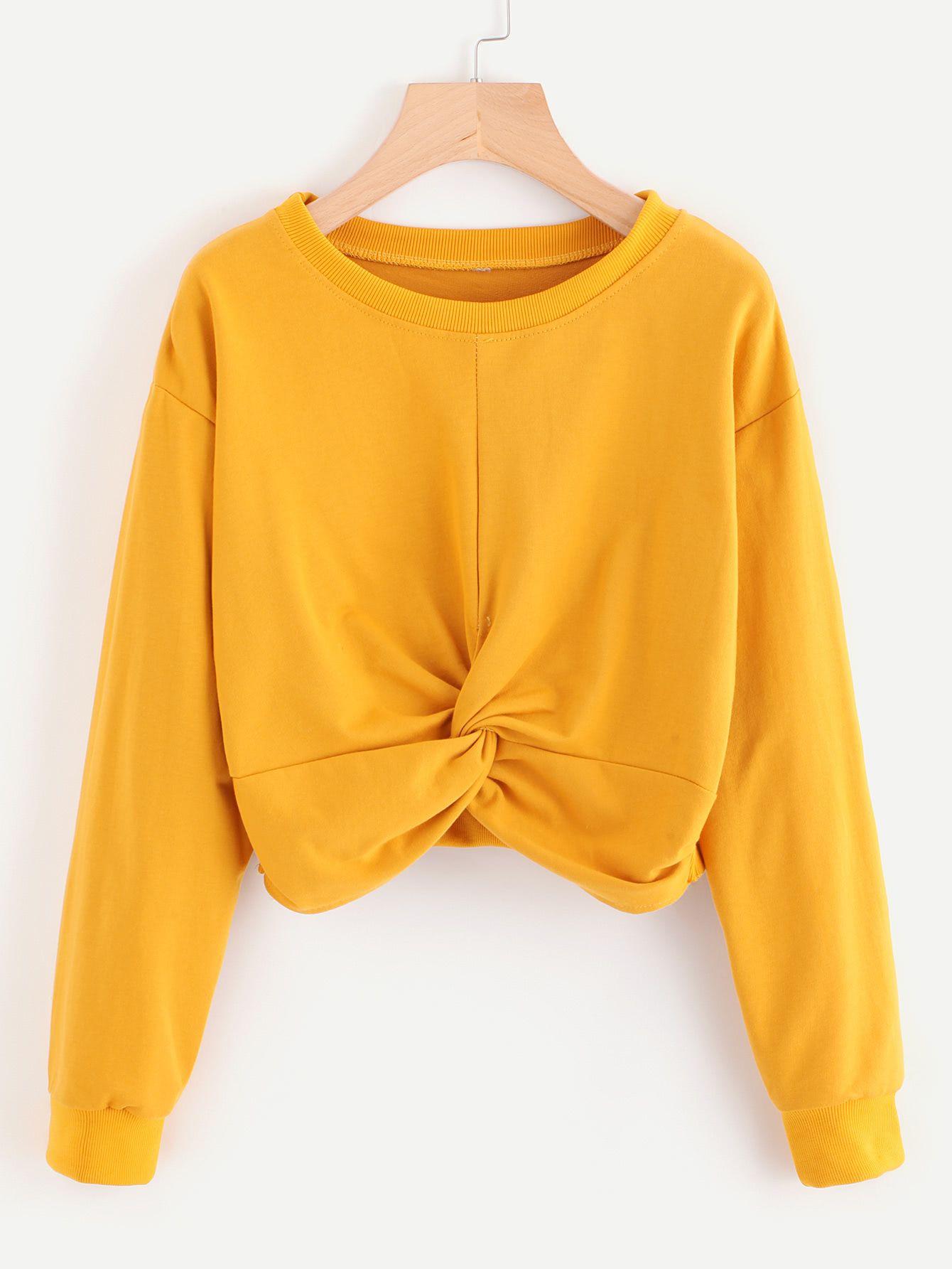 Drop Shoulder Twist Front Crop Sweatshirt