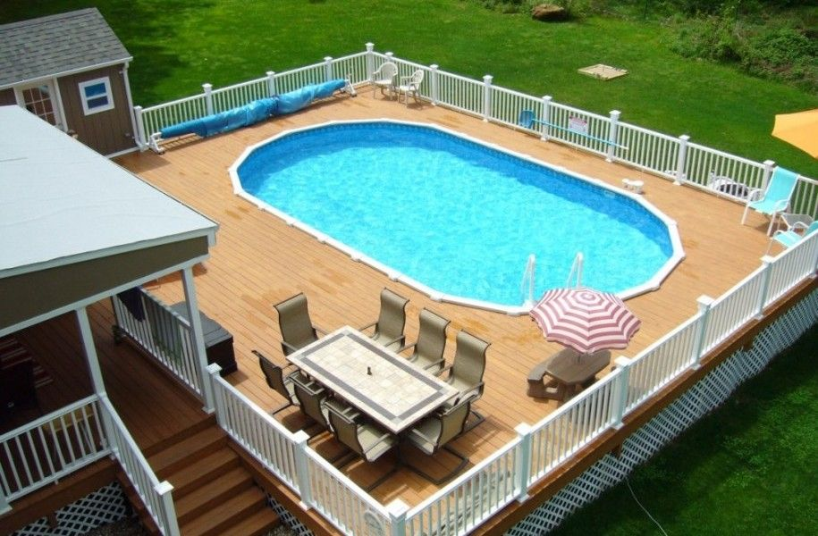 Multi level above ground pool deck design ideas projects for Pool 22 design