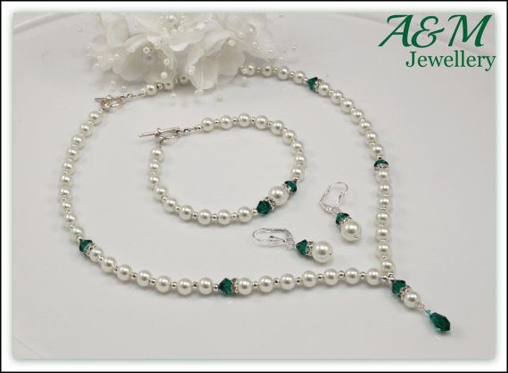 Ivory glass pearls and emerald Swarovski crystals jewellery bridal bridesmaid necklace earring bracelet BSAFT101002