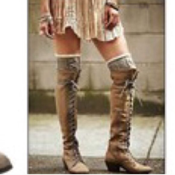 Over the knee lace up boots Lace up boot with side zip and adjustable lace for a great fit regardless of calve size Shoes Lace Up Boots