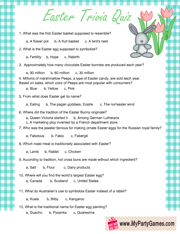 It is a graphic of Playful Easter Trivia Questions and Answers Printable