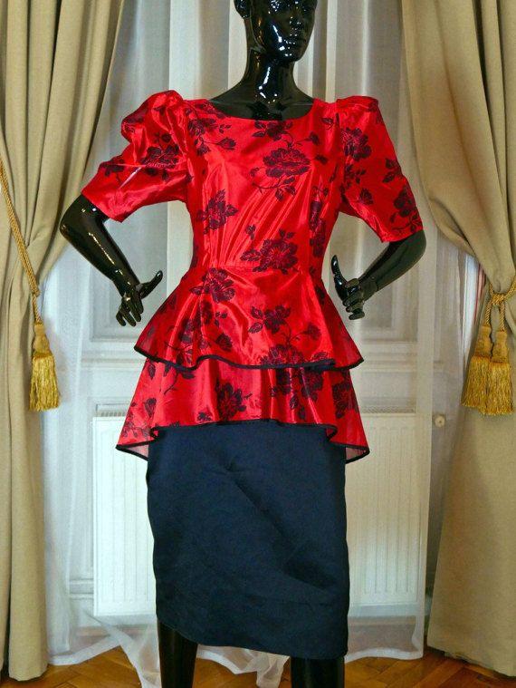 Manches bouffantes vintage des années 80 robe de soirée robe
