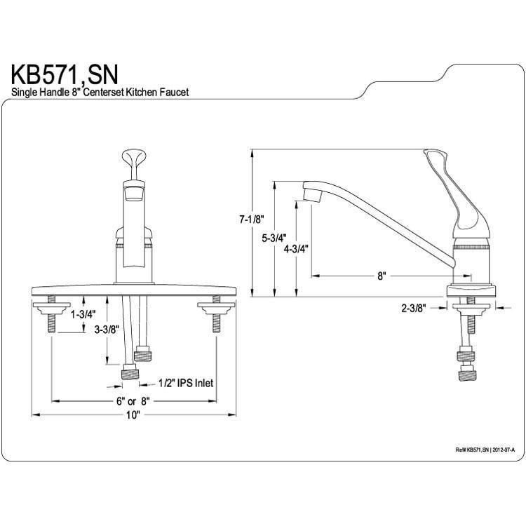 Kingston Brass Satin Nickel Single Handle Kitchen Faucet Kb571sn Single Handle Kitchen Faucet Kingston Brass Kitchen Faucet