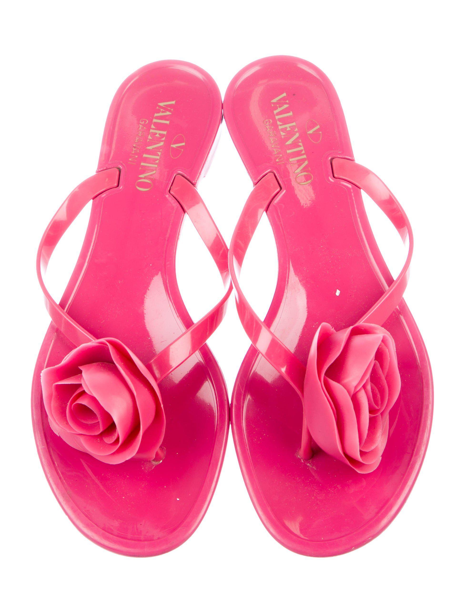 Fuchsia rubber Valentino jelly sandals