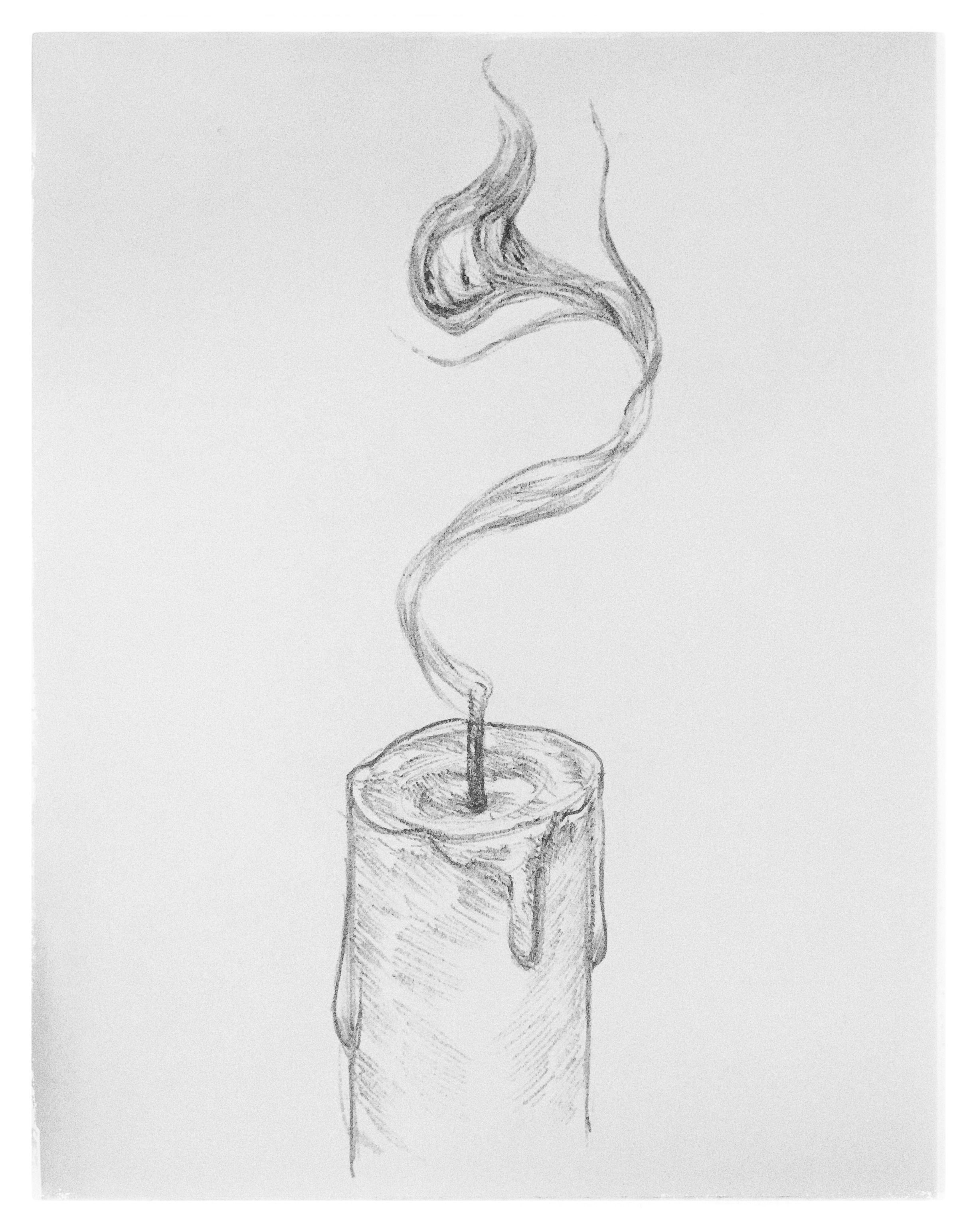 8 smoke spirit ghost candle character pencil cartoon sketch