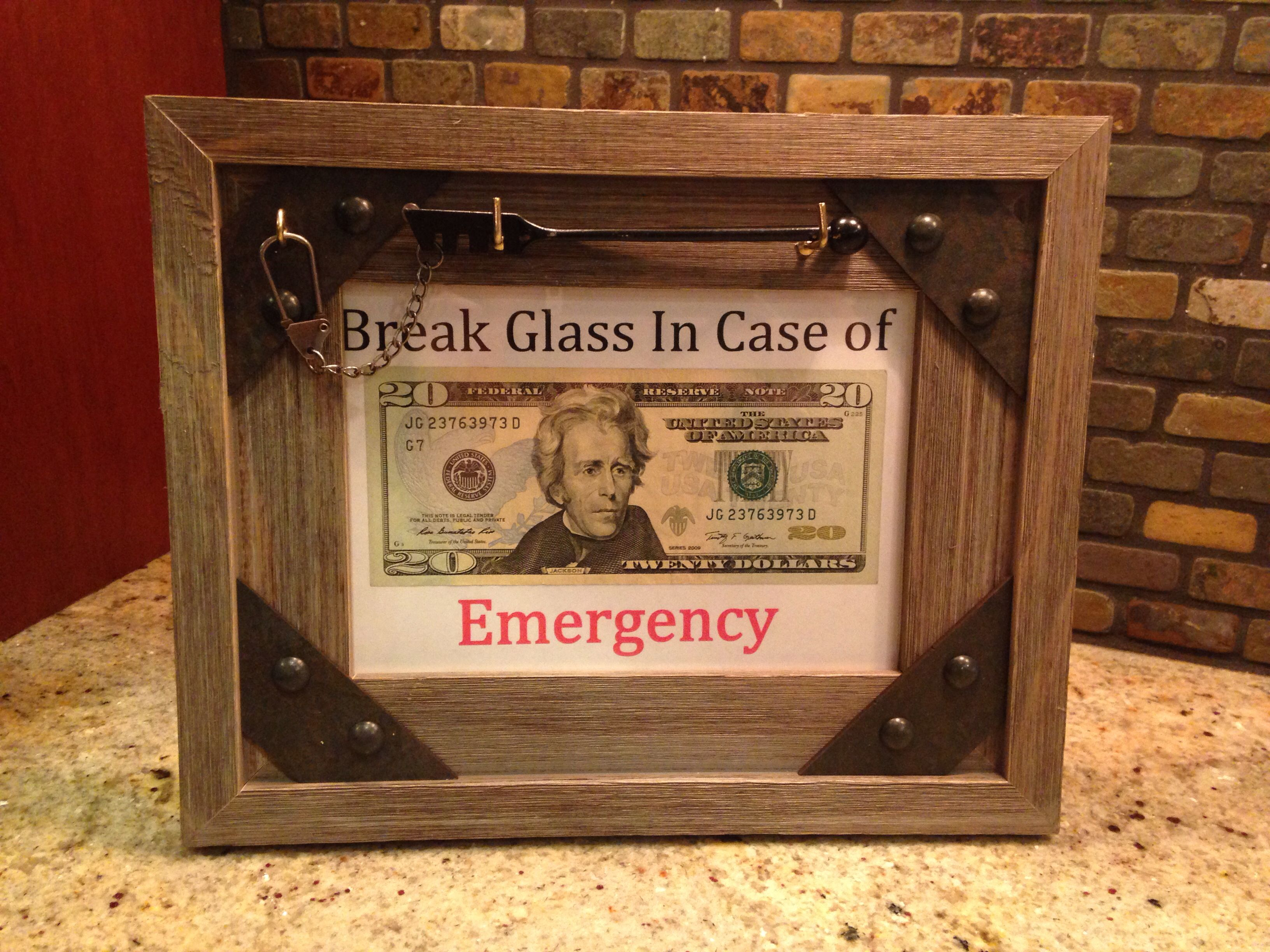 Diy graduation gift break glass in case of emergency w 20 bill buy picture frame hanging hardware and glass breaker at local hardware or craft store add 20 bill print out background jeuxipadfo Images