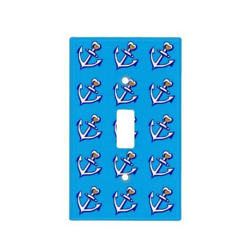 Blue Anchors Pattern Light Switch Cover; Abigail Davidson Art; ArtisanAbigail at Zazzle