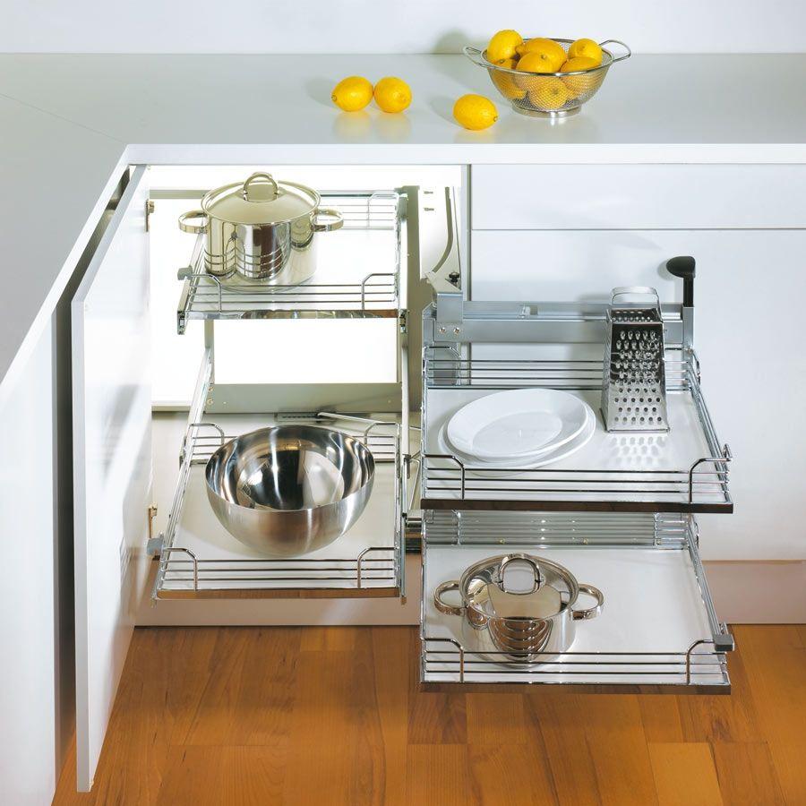 Kessebohmer Magic Corner Two For Blind Corner Cabinets Champagne Swings Right 548 10 440 Corner Kitchen Cabinet Kitchen Design Kitchen Corner
