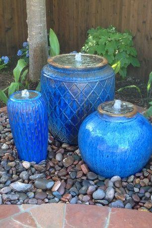 Mediterranean Landscape Yard With Small Ceramic Planter Large