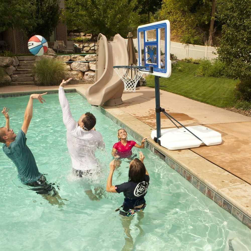 5 Year Warranty That Covers Everything On The System This Very Portable Basketball System Is Made With A Pro Court 26 Pool Basketball Swimming Pool Games Pool