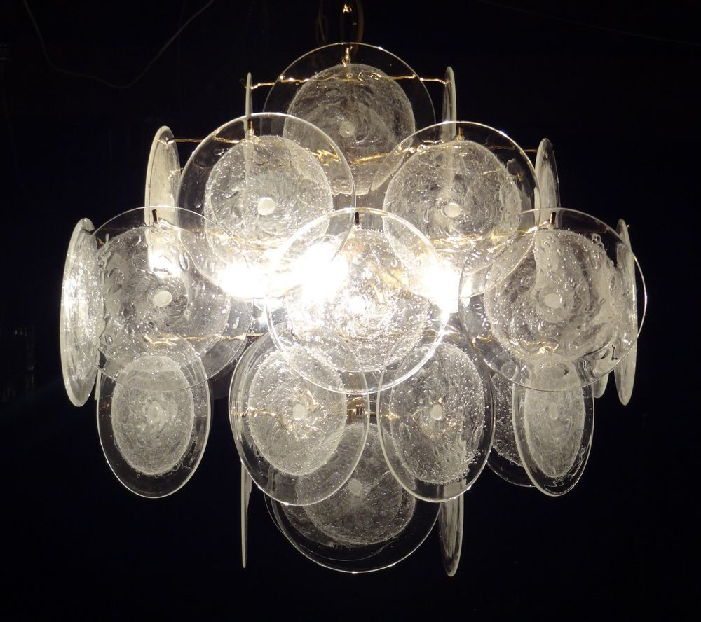Murano Chandelier Nz: VISTOSI Murano Glass Disc Chandelier Retro Vintage Design