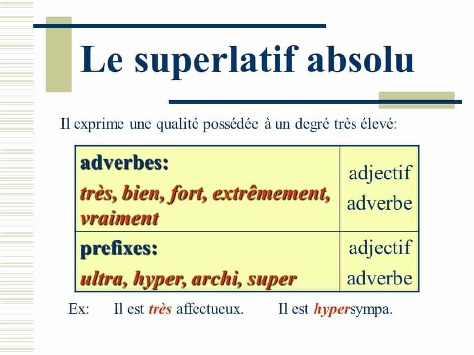 Resultado de imagem para superlatif absolu