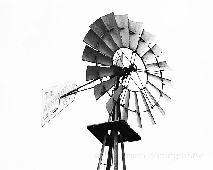windmill photography rustic home decor farm decor black and white farm cottage chic country industrial Aeromotor Chicago
