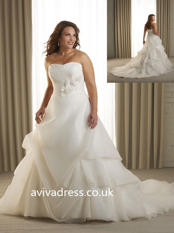 Ball Gown Sweetheart Sleeveless Organza Ivory Allure Plus Size ...