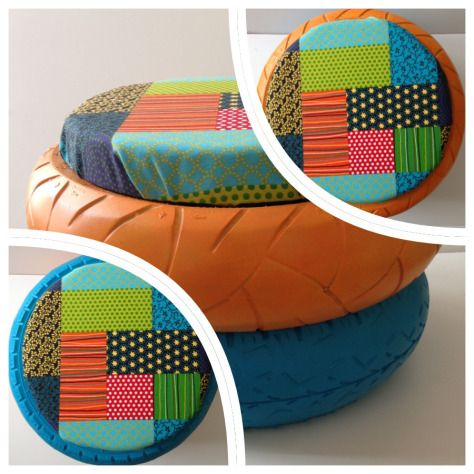 patchwork pouf le designer du recyclage pouf pneu et pneus recycl s. Black Bedroom Furniture Sets. Home Design Ideas