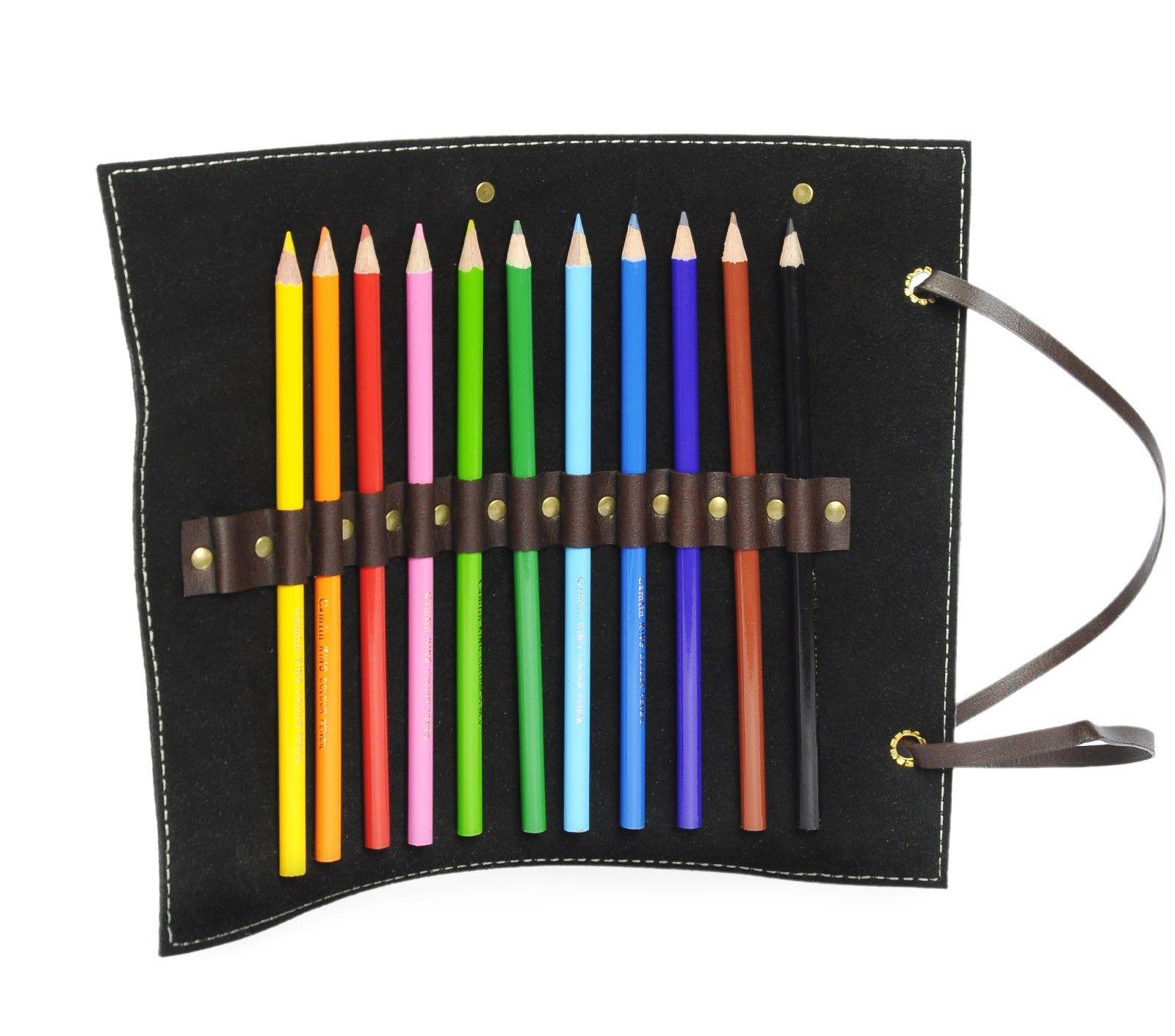 Pencil Roll - Black Suede